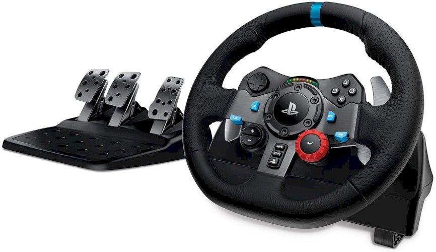 Logitech G29 Driving Force Volante de Corrida e Pedáis, Force Feedback, Alumínio Anodizado, Mudanças, Volante de Couro, Pedais ajustáveis, PS4/PS3/PC/Mac, Preto